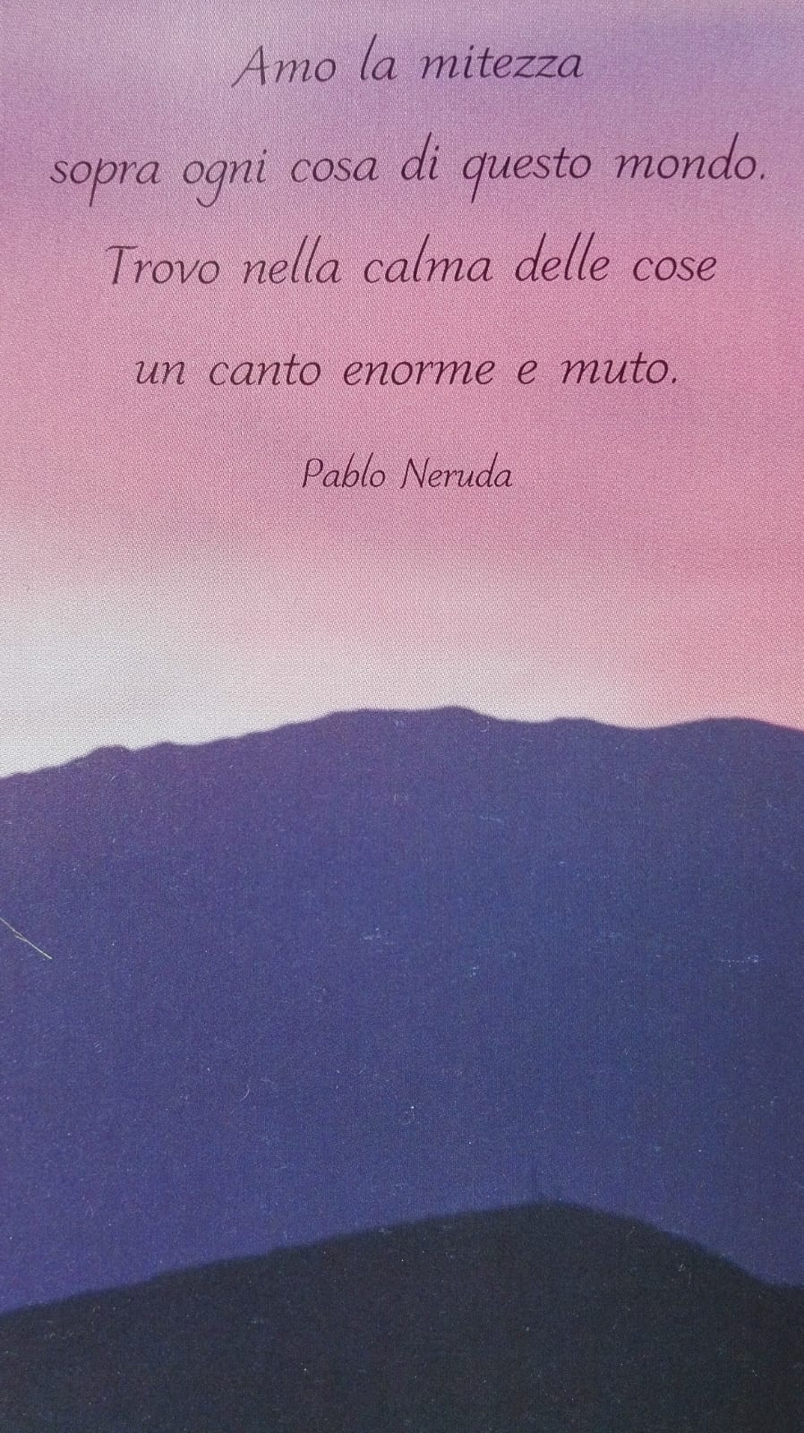 Pablo Neruda. Amo la mitezza sopra ogni cosa di questo mondo. Trovo nella calma delle cose un canto enorme e muto.