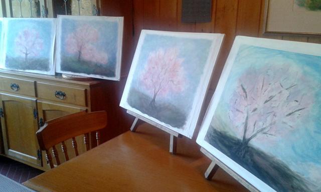 alberi, velature, acquarello, pittura, primavera, fiori rosa